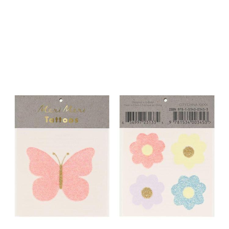 Merimeri lill liblikas tätoveering ajutine laps laste aksessuaar