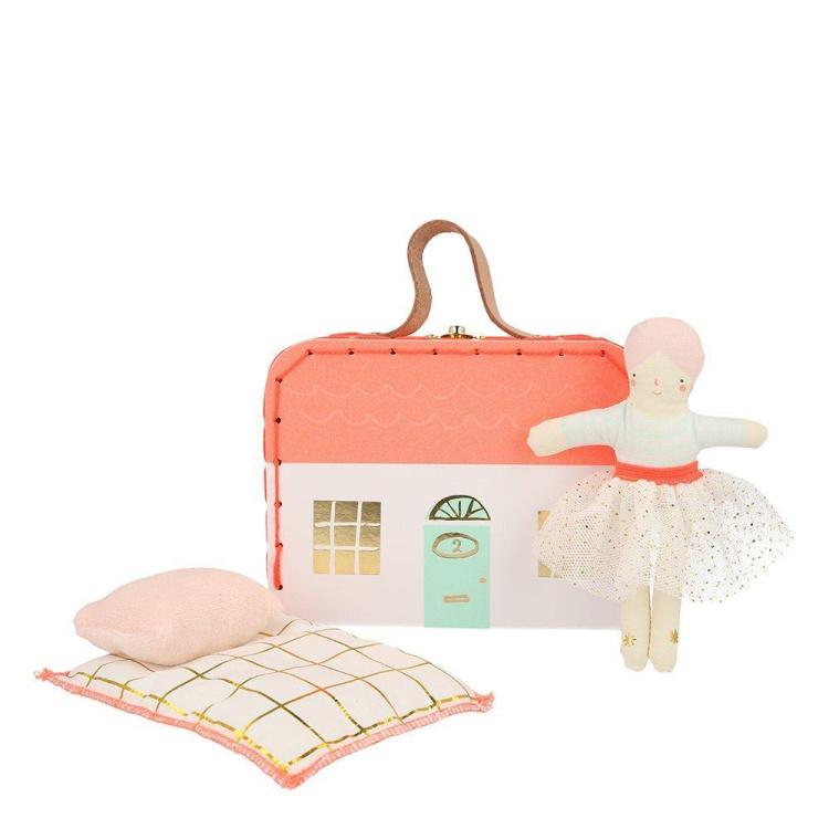 Meri Meri nukukohver nukuvoodi mänguasi reisile tüdrukute karbis mängukohver nukumaja