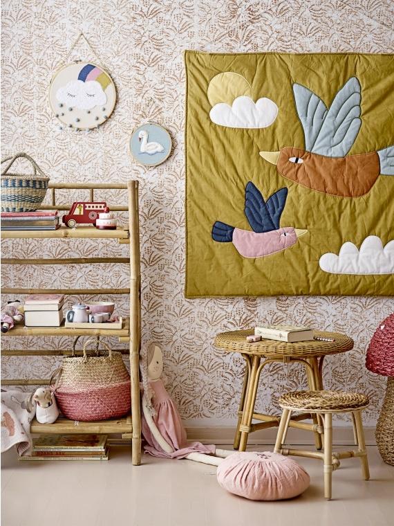 bloomingville seinatekk seinakaunistus lastetuba lastetoa sisustus aksessuaar linnud pastell