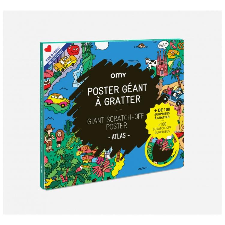 Omy poster maailmakaart maailm atlas mahakraabitav seinakaunistus laste kunst