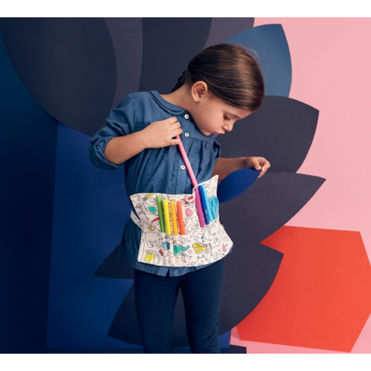 Pliiatsite vöökott värvitav riie viltpliiatsite pinal kangas puuvill OMY laste aksessuaar