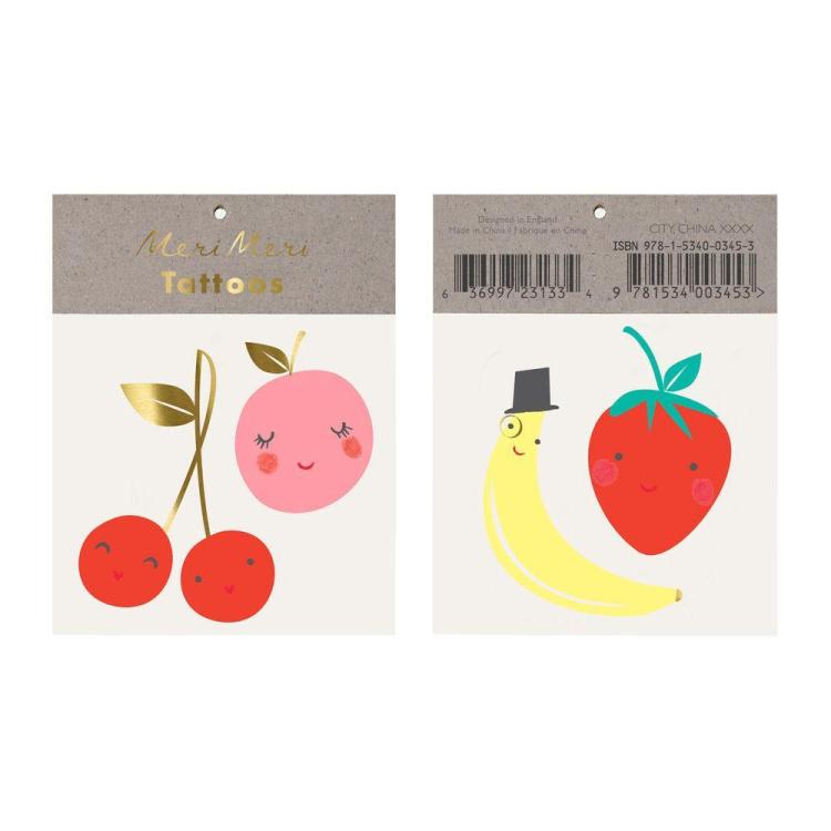 Merimeri tätoveering puuvili puuviljad ajutine laste laps aksessuaar