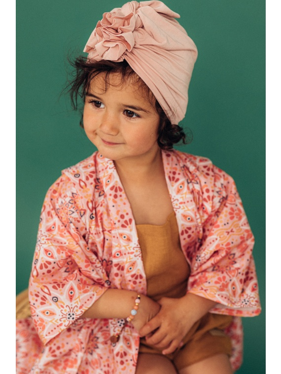 Turban peakate müts laste tüdrukute roosa bambus sinep aksessuaar