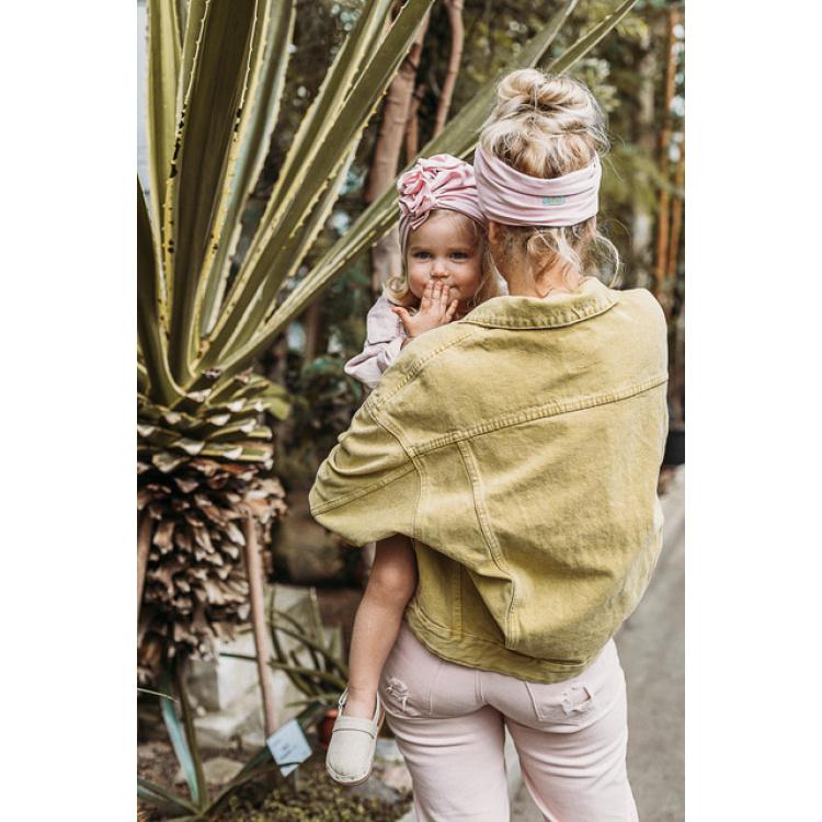 Turban peakate müts laste tüdrukute roosa lipsuga