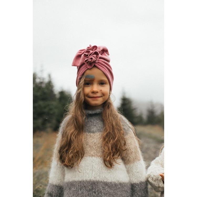 Turban peakate müts laste tüdrukute roosa samet sinep aksessuaar