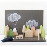 kiko+ & gg* puidust klotsid auto magnettahvel mänguasi laste linn